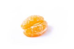 Lippen von der Tangerine (Mandarine) auf weißem Hintergrund Stockbild