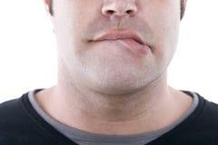 Lippenbeißen Lizenzfreies Stockfoto