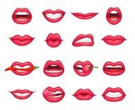 Lippeninzameling Mooi meisje die, het bijten peper, kers en lip met lippenstift glimlachen kussen De kus van de beeldverhaalschoo royalty-vrije illustratie