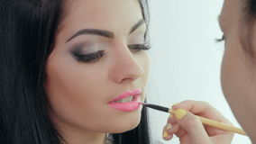 Lippenmake-up Maskenbildner stock video