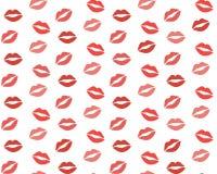 Lippenmuster Vector nahtloses Muster mit Frau ` s, das rot sind und den rosa küssenden flachen Lippen, die auf Weiß lokalisiert w Lizenzfreies Stockbild