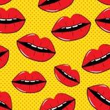 Lippennahtloser Muster-Hintergrund im Knall Art Style Stockfoto