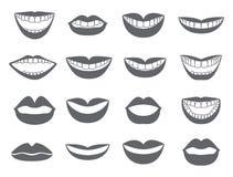 Lippenpictogram Reeks van silhouetten lip-vector Stock Afbeeldingen