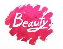 Lippenstift befleckt auf weißem Hintergrund mit Schönheit lizenzfreies stockbild