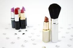 Lippenstift en de Borstel van de Samenstelling Royalty-vrije Stock Fotografie
