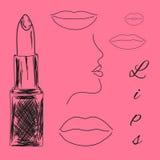 Lippenstift en lippenschets Stock Afbeelding