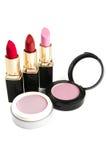 Lippenstift en poeder Royalty-vrije Stock Afbeelding