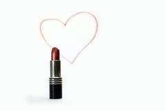 Lippenstift en voorgesteld hart Stock Afbeelding