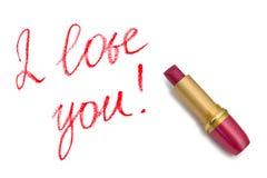 Lippenstift en woorden I houden van u! Royalty-vrije Stock Afbeelding