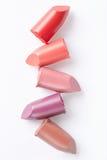 Lippenstift gesneden inzameling op wit royalty-vrije stock afbeeldingen
