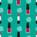 Lippenstift met nagellak naadloos patroon 2 Stock Foto's