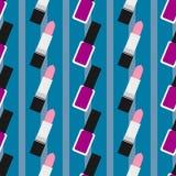 Lippenstift met nagellak naadloos patroon 3 Stock Foto