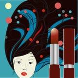 Lippenstift mit dekorativem Hintergrund Stockfoto