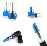Lippenstift mit dem nailpolish getrennt lizenzfreie stockfotos