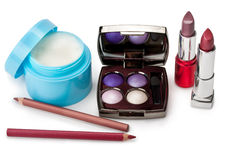 Lippenstift, room, oogschaduw Royalty-vrije Stock Afbeeldingen