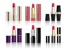 Lippenstift-Sammlungssatz realistische Art unterschiedlichen KosmetikVerpackungsgestaltung Modells Stockfotos
