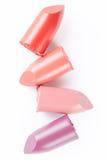 Lippenstift schneidet Sammlung auf Weiß Stockbilder