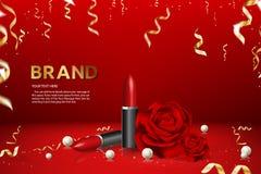 Lippenstift van het het Merkproduct van de Reclamebanner de Advertentie Vectorillustratie stock fotografie