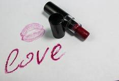 Lippenstiftaufschrift lizenzfreies stockbild