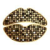 Lippenstiftdruk met fonkelingen Royalty-vrije Stock Foto's