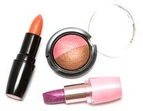 Lippenstifte und Augenschminken Lizenzfreie Stockfotografie
