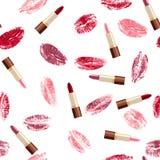 Lippenstiften en lippenaf:drukken Stock Afbeeldingen