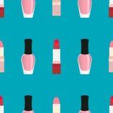 Lippenstiften met nagellak naadloos patroon Royalty-vrije Stock Foto's