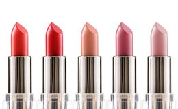 Lippenstiftkleuren Verschillende Vormen van Make-upproduct Stock Afbeelding