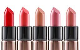 Lippenstiftkleuren Verschillende Vormen van Make-upproduct Stock Foto's