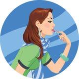 Lippenstiftmädchen Stockfoto