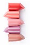 Lippenstiftsammlung auf Weiß Lizenzfreie Stockfotos