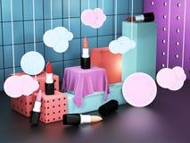 Lippenstiftschaukasten-Würfelanzeigen Kosmetikausstellungsraum Bunter Ausstellungsraum mit offenen Lippenstiften Abbildung 3D Lizenzfreie Stockfotos