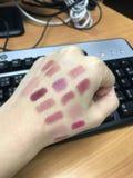 Lippenstifttest Stock Foto's