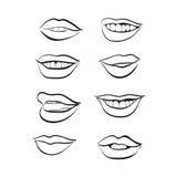 Lippenvektor-Ikonensatz Lizenzfreie Stockfotos