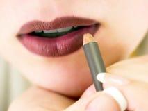 Lippenzwischenlage Stockfoto