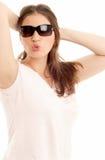 Lips. Lovely brunette in sun glasses Royalty Free Stock Images