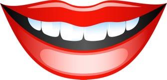 Lips. Vector image smiling female lips. Isolated on white. EPS 8 Stock Image