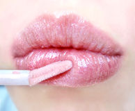 Lips. In brilliant rose pomade Royalty Free Stock Image