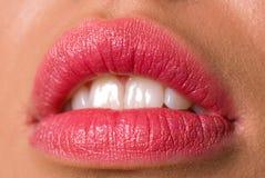 Lips. Close up shot of young woman lips Stock Photo