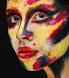 Lips of beautiful young girl with paint on his face Royalty Free Stock Photo