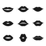 Lips black shape icon set Stock Image
