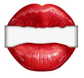 Lips Blank Sign. As a symbol of communication from  a red lipstick mouth of a female that is biting down on a white banner with copy space as an icon for Royalty Free Stock Images