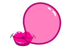 Lips blowing a bubblegum bubble Royalty Free Stock Photography