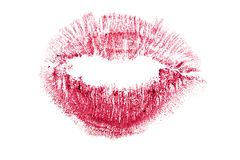 Lips bright kiss track on white Royalty Free Stock Photo