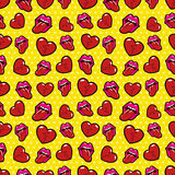 Lips and Broken Hearts Seamless Pattern. Love Background in Retro Fashion Style Royalty Free Stock Images