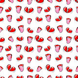 Lips and Broken Hearts Seamless Pattern. Love Background in Retro Fashion Style Stock Photos