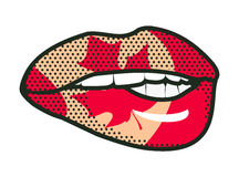 Lips Canadian flag Stock Images