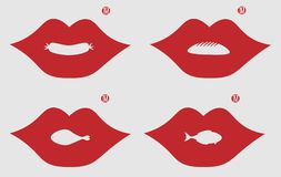 Lips with chicken legs, fish, bread and sausage in a negative space for a logo of food vector illustration