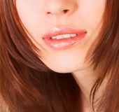Lips of young woman stock image
