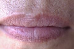 Lips closeup with only touch of lipstick Royalty Free Stock Photo